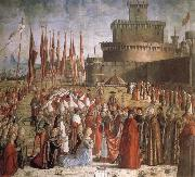 Scenes from the Life of St Ursula:The Pilgrims are met by Pope Cyriacus in front of the Walls of Rome